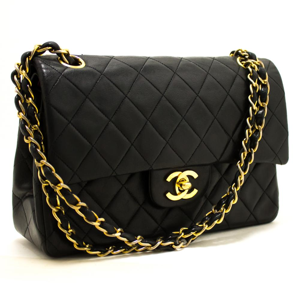 2367ab5bb733 Details about Q32 CHANEL Authentic 2.55 Double Flap Small Chain Shoulder  Bag Black Lambskin