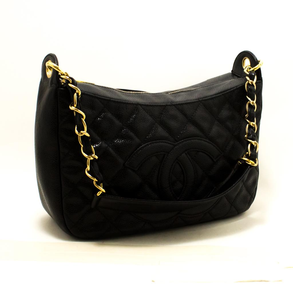 0f6218cf8ec6 Details about Q84 CHANEL Authentic Caviar Chain One Shoulder Bag Black  Quilted Leather Zipper
