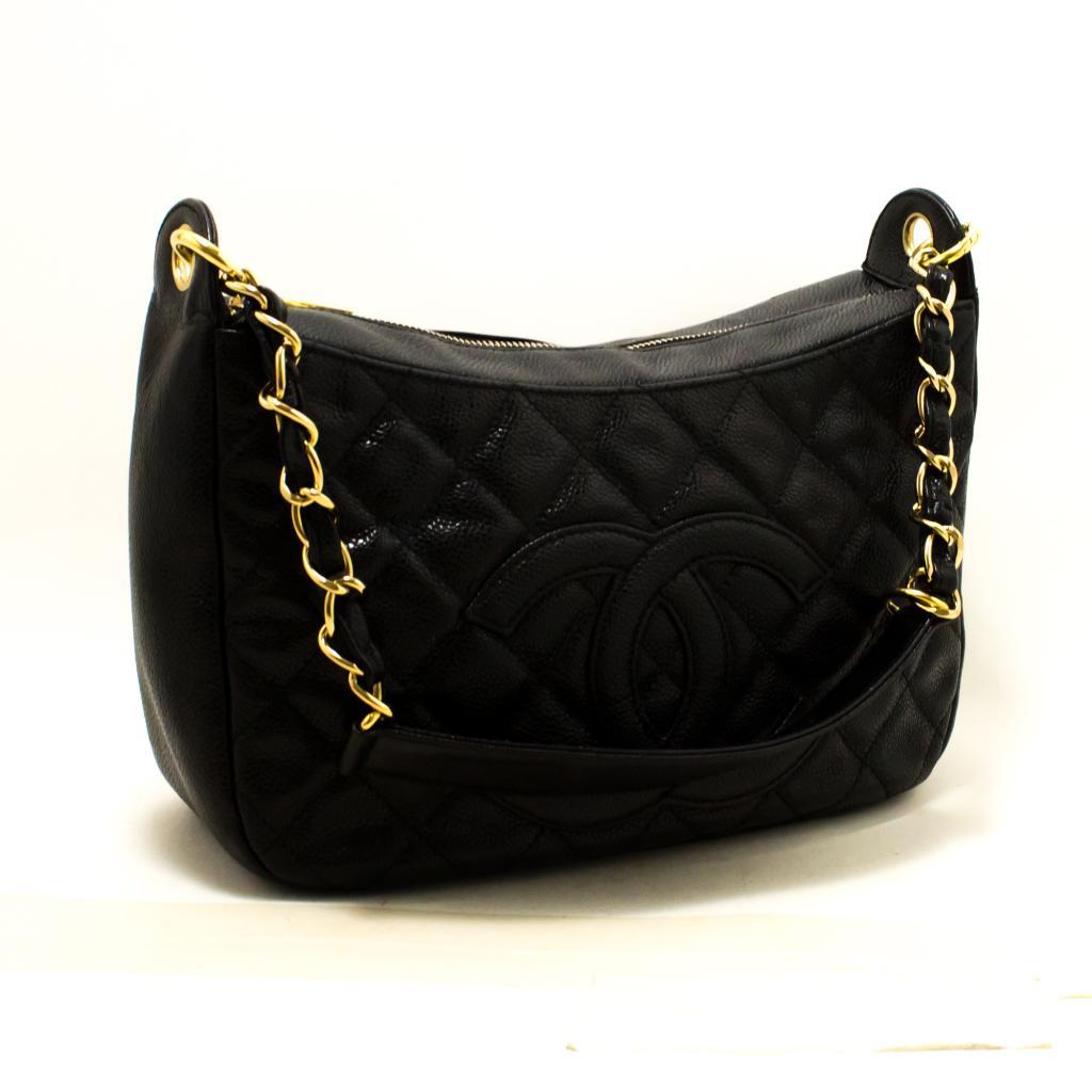 dfa34bd43d Details about Q84 CHANEL Authentic Caviar Chain One Shoulder Bag Black Quilted  Leather Zipper