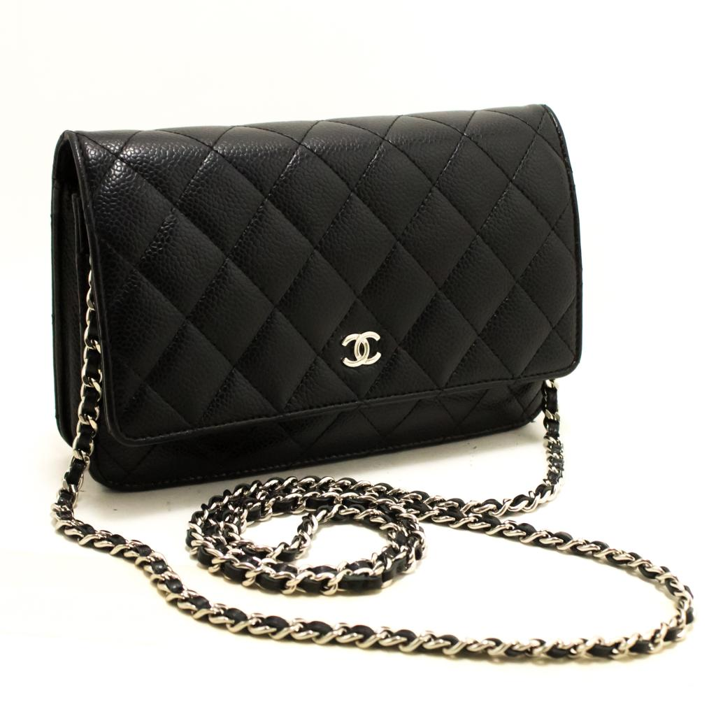 ebd607c57d84e8 Details about CHANEL Caviar Wallet On Chain WOC Black Shoulder Bag  Crossbody Q91
