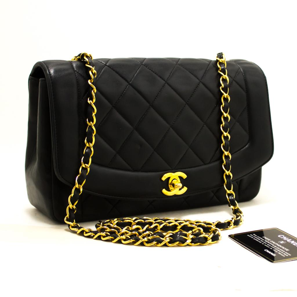 66ab3fa5f2b345 Details about R03 CHANEL Authentic Diana Flap Chain Shoulder Bag Crossbody  Black Lambskin