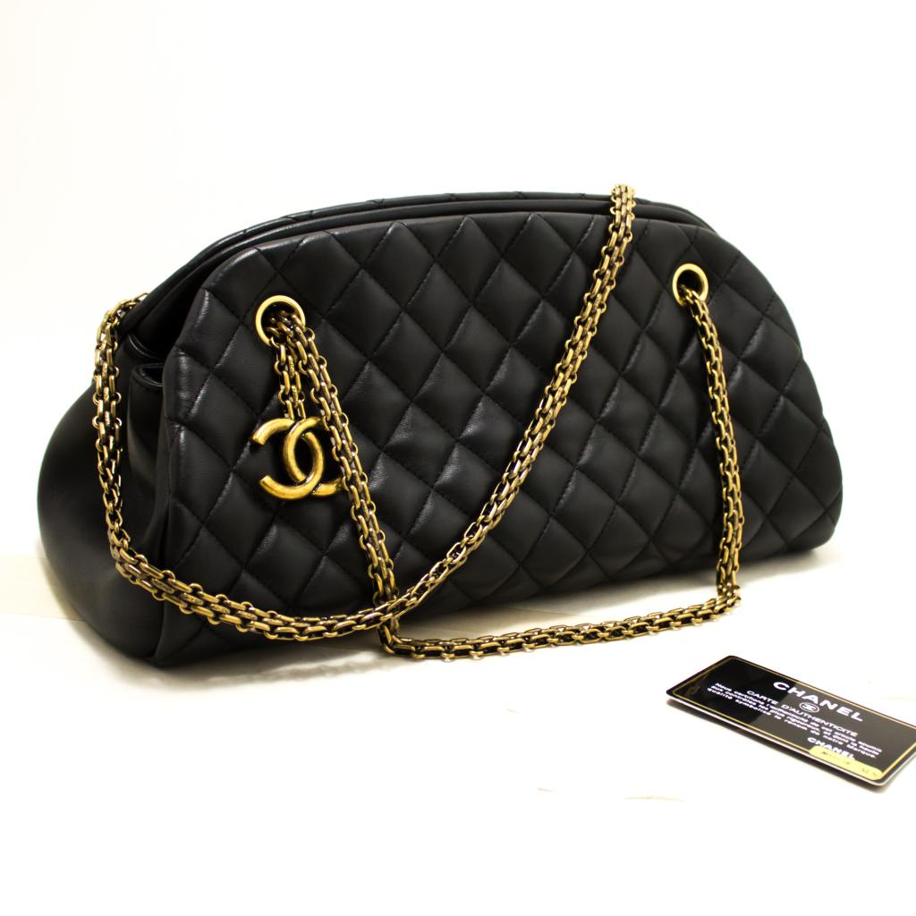 ff6ba54e37c3c9 Details about R06 CHANEL Authentic Bowling Chain Shoulder Bag Black Quilted  Lambskin Gold