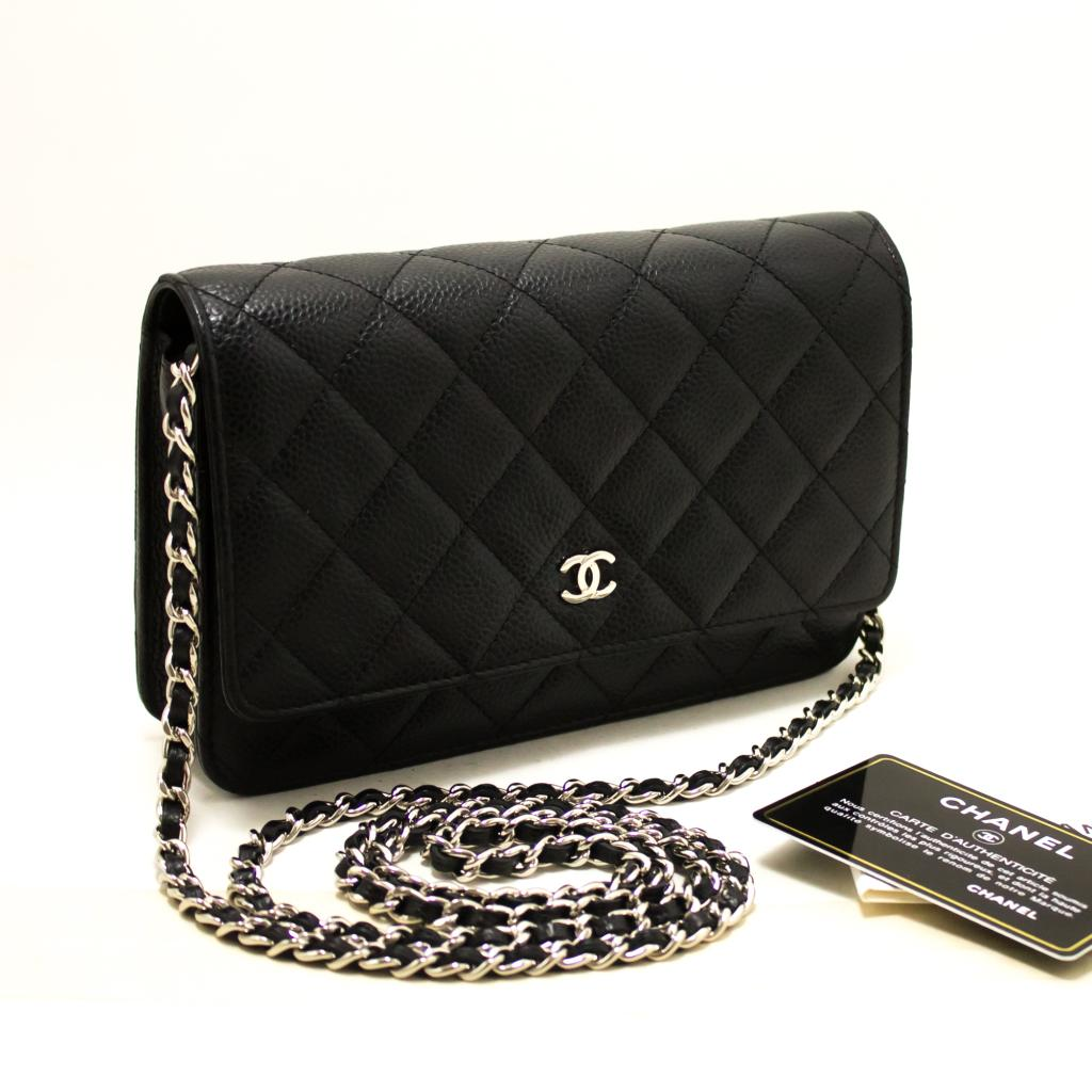 4a297950095a Details about R16 CHANEL Authentic Caviar Wallet On Chain WOC Black  Shoulder Bag Crossbody