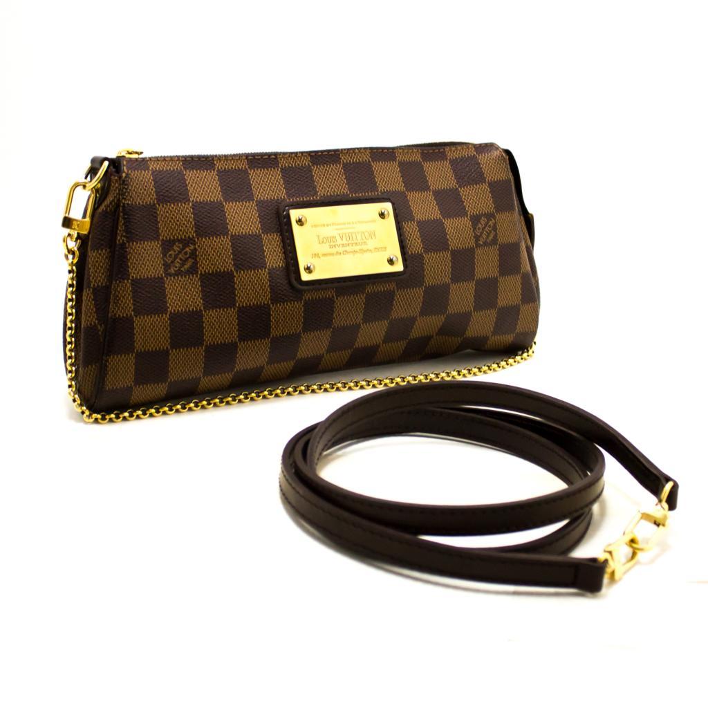 Details about Louis Vuitton Eva Ebene Damier Canvas Shoulder Bag Handbag  Gold R39