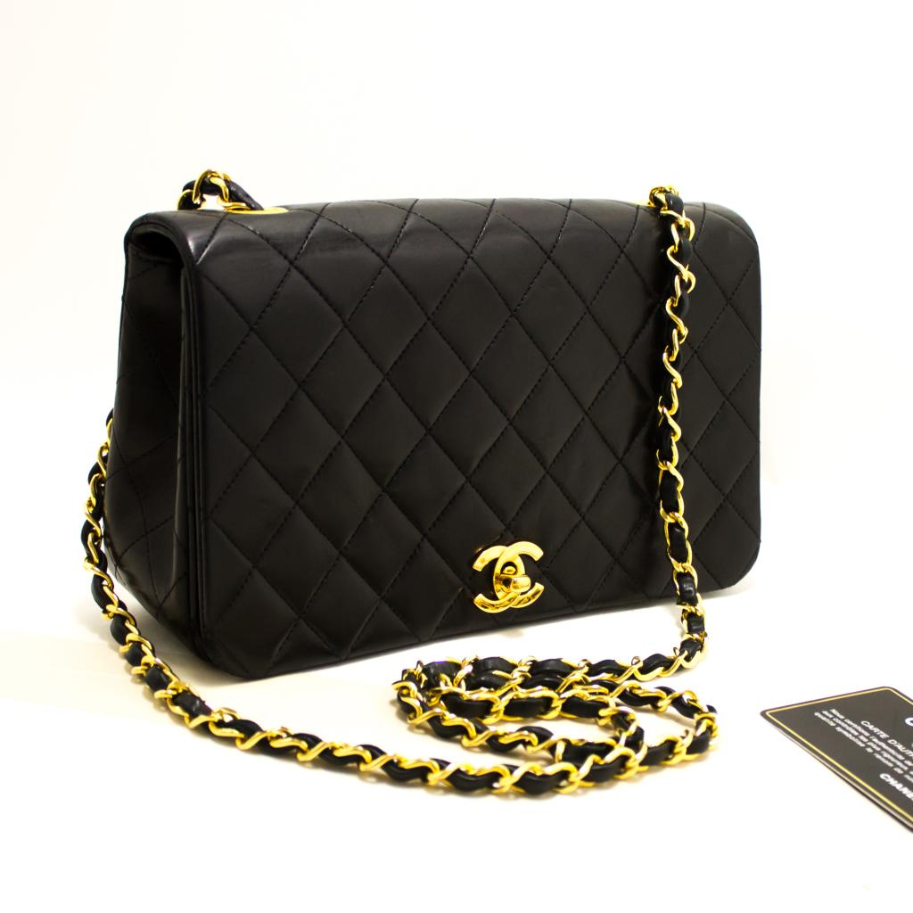 cc7ee7daf2b2 Details about R44 CHANEL Authentic Chain Shoulder Bag Crossbody Black  Quilted Flap Lambskin