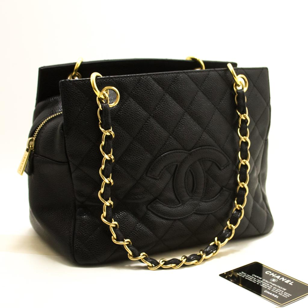 0bff65797f402f Details about CHANEL Caviar Chain Shoulder Bag Shopping Tote Black Quilted  R53