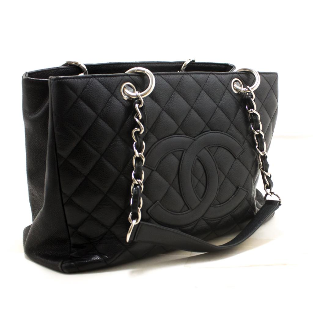 Details About R56 Chanel Authentic Caviar Gst 13 Grand Ping Tote Chain Shoulder Bag Black