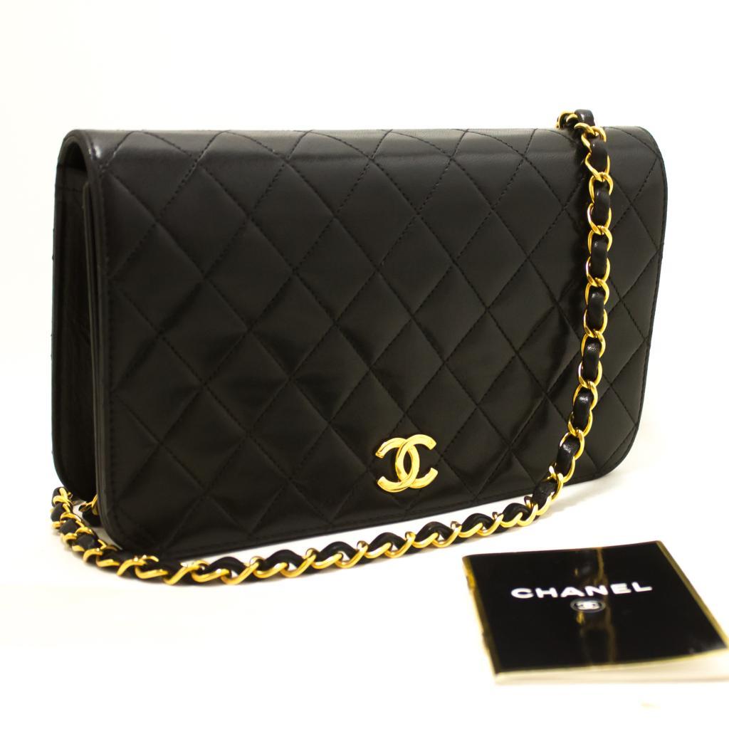 comprare on line dd6d7 5adc2 Dettagli su R82 Chanel Originale Catena Borsa a Spalla Pochette Nero  Pattina Trapuntata