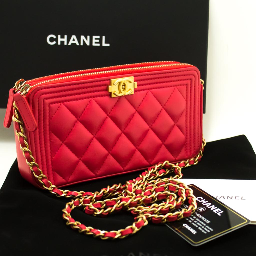 820ab34df7ab76 Details about n53 CHANEL Boy Hot Pink Wallet On Chain WOC W Zip Chain  Shoulder Bag