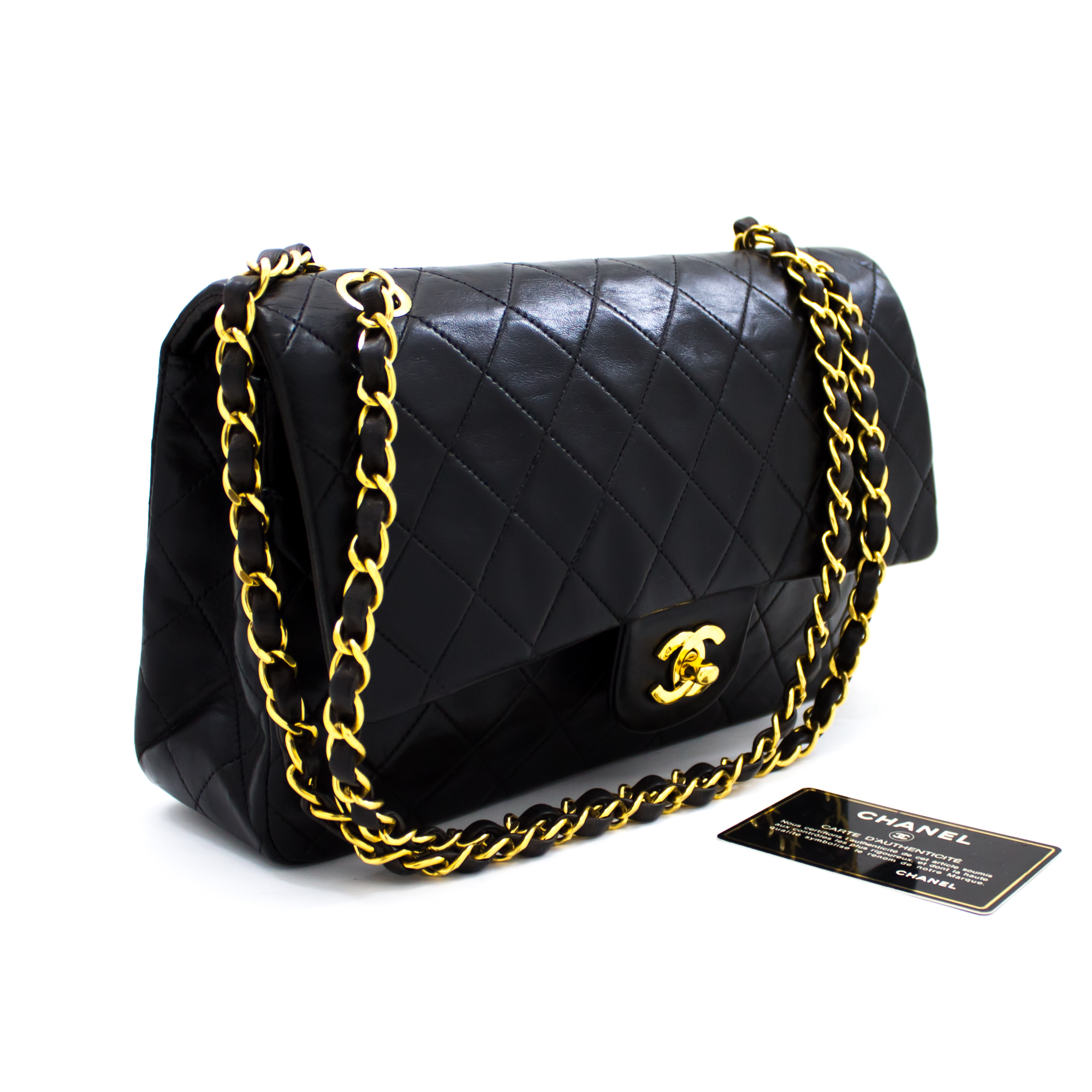 CHANEL-2-55-Double-Flap-10-034-Chain-Shoulder-Bag-Black-Quilted-Lamb-t23