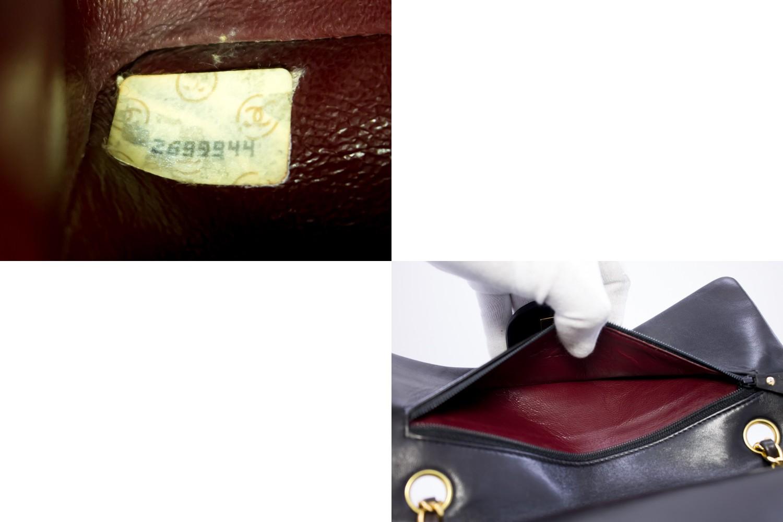 CHANEL-2-55-Double-Flap-10-034-Chain-Shoulder-Bag-Black-Quilted-Lamb-t23 thumbnail 10